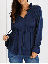 Puff Sleeves Ruffled High Waist Blouse