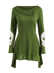 Lace Insert Skull Mini Asymmetric Dress - GREEN