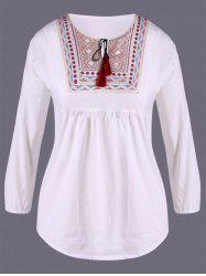 Ethnic Embroidery Loose Blouse - WHITE XL