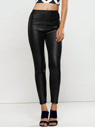 High Waisted Faux Leather Skinny Leggings