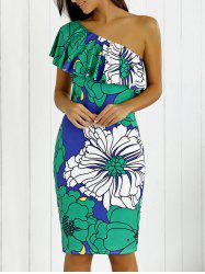 One-Shoulder Flounce Floral Print Dress