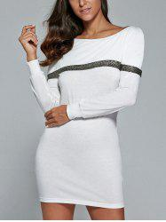 Long Sleeve Spliced Mini Sheath Dress
