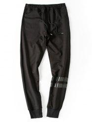 Stripe Embellished Beam Feet Lace-Up Jogger Pants