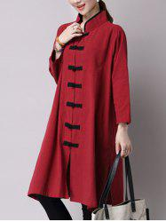 Chinese Style Button Up Slit Loose Long Trench Coat -