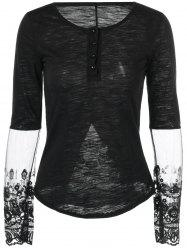 Furcal Lace Splicing Slimming T-Shirt -
