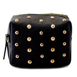 Zipper Rivets PU Leather Crossbody Bag