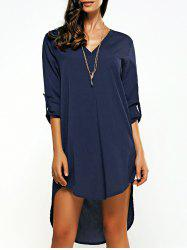 Asymmetrical V Neck Casual Knee Length Going Out Dress - PURPLISH BLUE 3XL