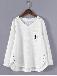 Plus Size Asymmetrical Embroidered Blouse - WHITE 4XL