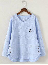 Plus Size Asymmetrical Embroidered Blouse - LIGHT BLUE