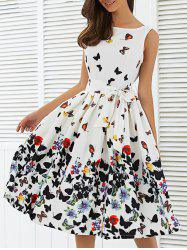 Sleeveless Floral Print Self Tie A Line Dress - WHITE
