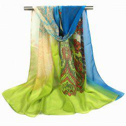 Paisley and Gradient Print Chiffon Scarf