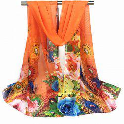 Peacock Feather and Flower Print Chiffon Scarf - ORANGE