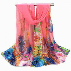 Peacock Feather and Flower Print Chiffon Scarf
