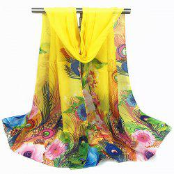 Peacock Feather and Flower Print Chiffon Scarf - YELLOW