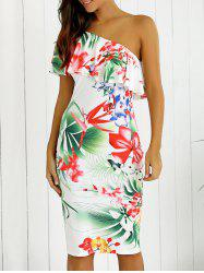 One-Shoulder Overlay Floral Print Fitted Dress