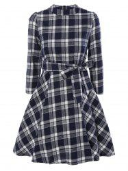 Stand Collar Tie-Waist Plaid Dress