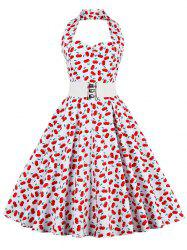 Cherry Print Halter Vintage A Line Dress - RED