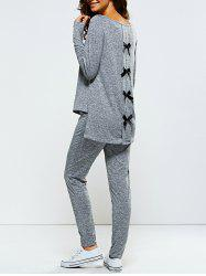 Bowknot Embellished Asymmetrical Sports Suit - GRAY