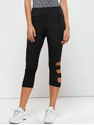 Hollow Out Quick -Dry Capri Workout Pants - BLACK