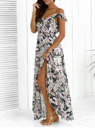 Floral Maxi Chiffon Beach Dress with Slit - COLORMIX