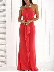 Ruffle Floor Length Long Maxi Formal Party Evening Dress - RED