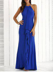 Ruffle Floor Length Long Maxi Formal Party Evening Dress - ROYAL BLUE