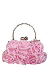 Metal Trimmed Silk Flowers Evening Bag - PINK