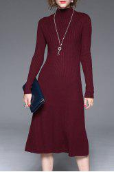 Knitted Long Sleeve Midi Dress - WINE RED XL