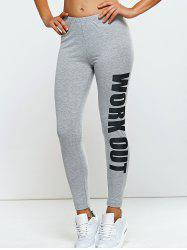Stretchy Side Letter Print Skinny Pants - LIGHT GRAY