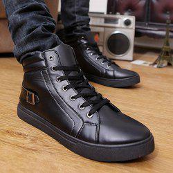 Buckle Strap High Top Lace Up Casual Shoes -