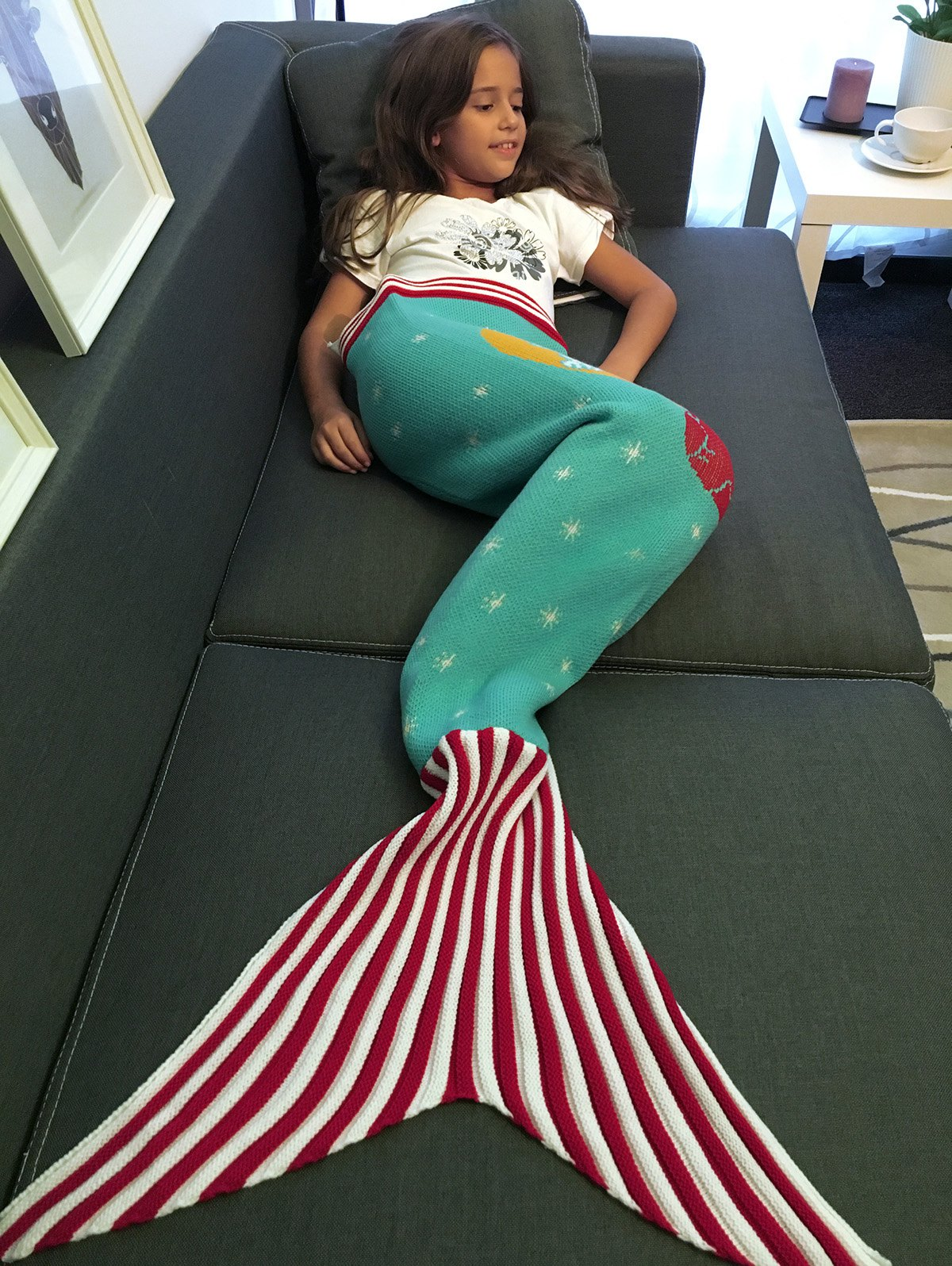 Store Moon and Santa Claus Pattern Knitting Mermaid Tail Blanket