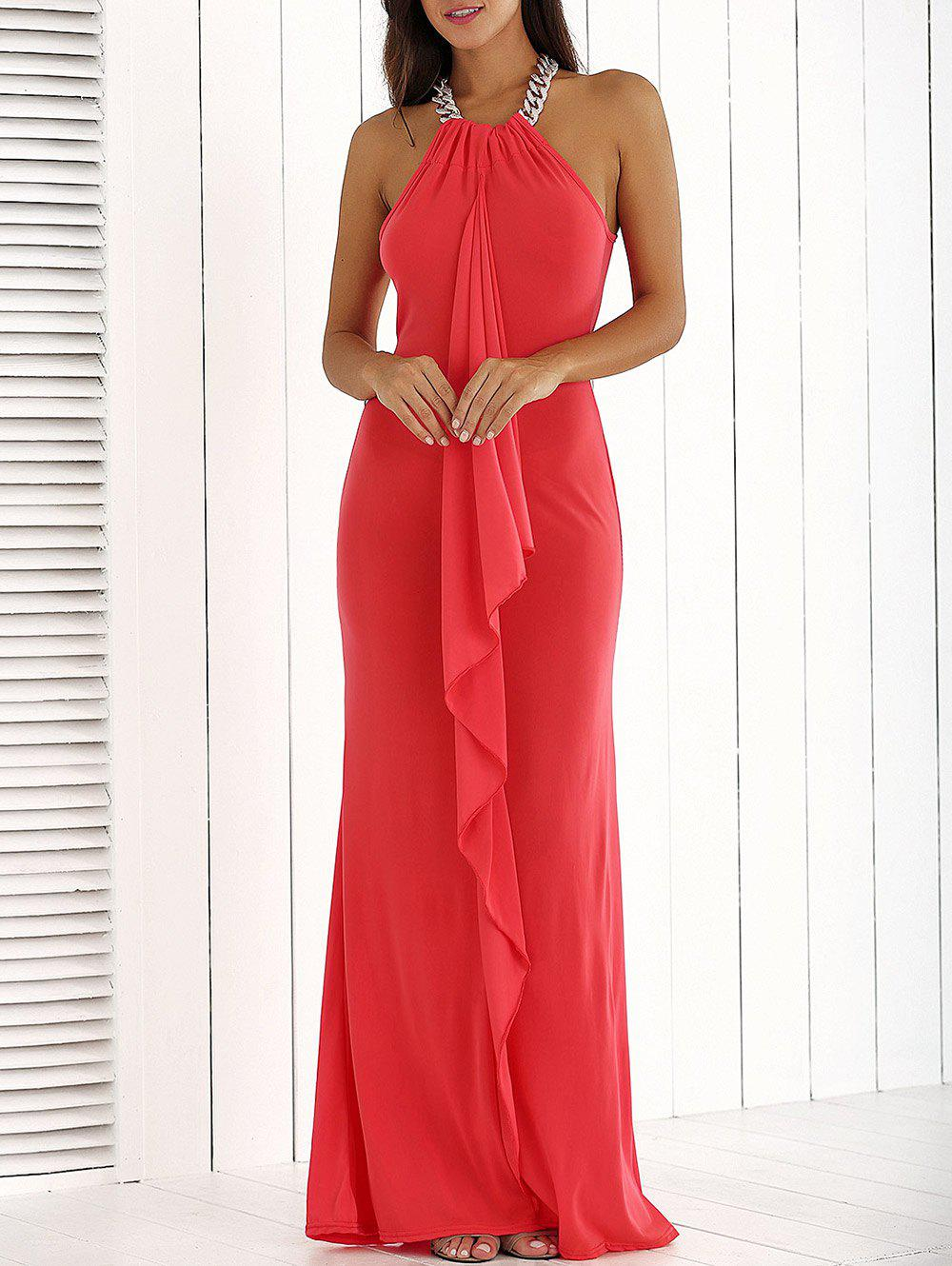 Outfit Ruffle Front Maxi Formal Evening Carpet Dress