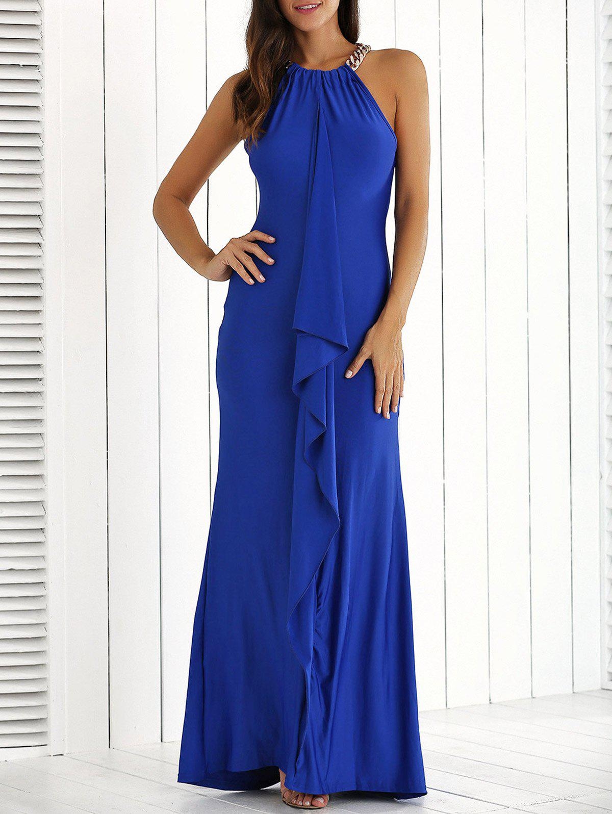 Ruffle Front Maxi Formal Evening Carpet DressWOMEN<br><br>Size: M; Color: ROYAL BLUE; Style: Casual; Material: Polyester; Silhouette: Sheath; Dresses Length: Floor-Length; Neckline: Jewel Neck; Sleeve Length: Sleeveless; Pattern Type: Solid; With Belt: No; Season: Summer; Weight: 0.4700kg; Package Contents: 1 x Dress;