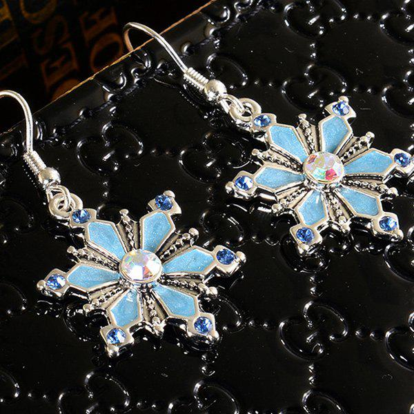 Enamel Snowflake EarringsJEWELRY<br><br>Color: LAKE BLUE; Earring Type: Drop Earrings; Gender: For Women; Material: Resin; Metal Type: Silver Plated; Style: Trendy; Shape/Pattern: Floral; Weight: 0.030kg; Package Contents: 1 x Earrings(Pair);