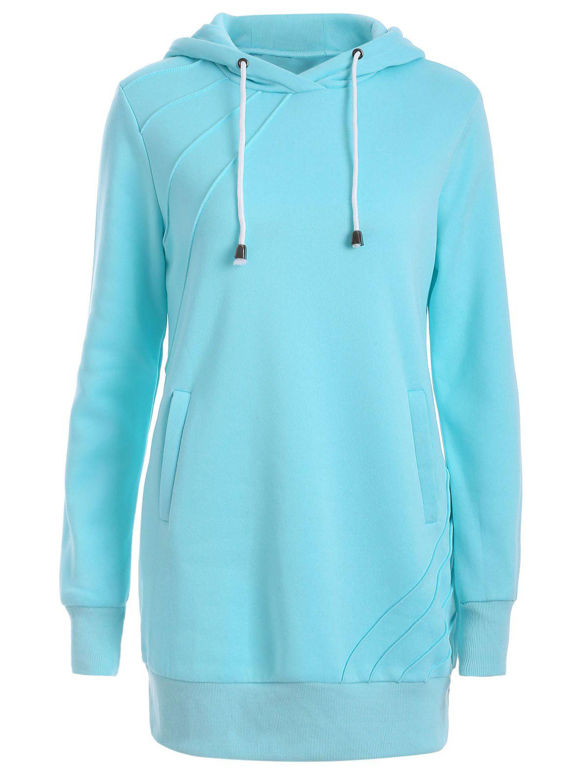 Water Blue 2xl Pleated Pullover Long Hoodie Rosegal Com