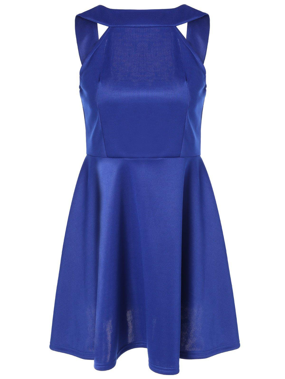 Online Sleeveless Backless Fit and Flare Dress