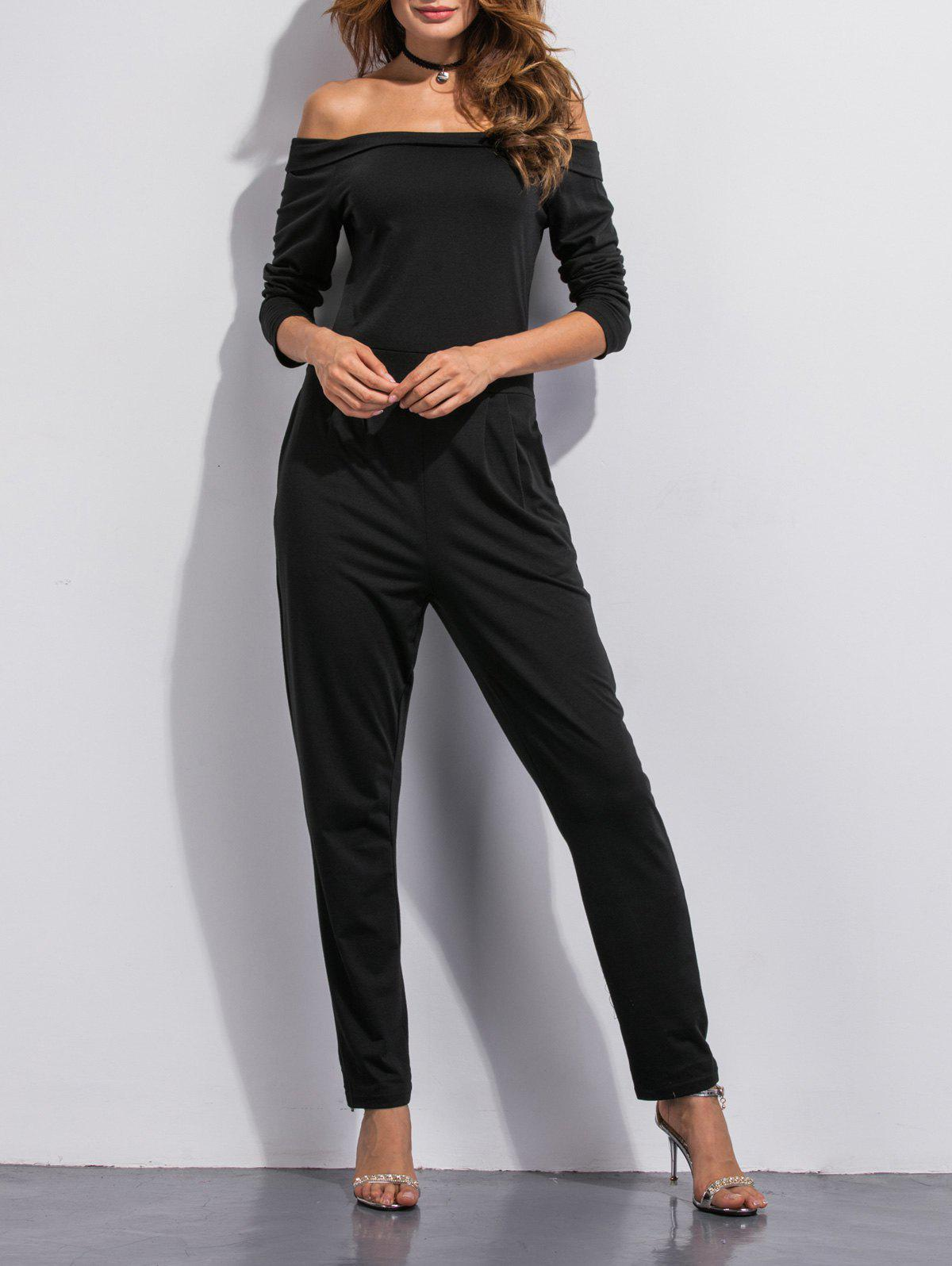 Chic Off The Shoulder Pocket Design Jumpsuit
