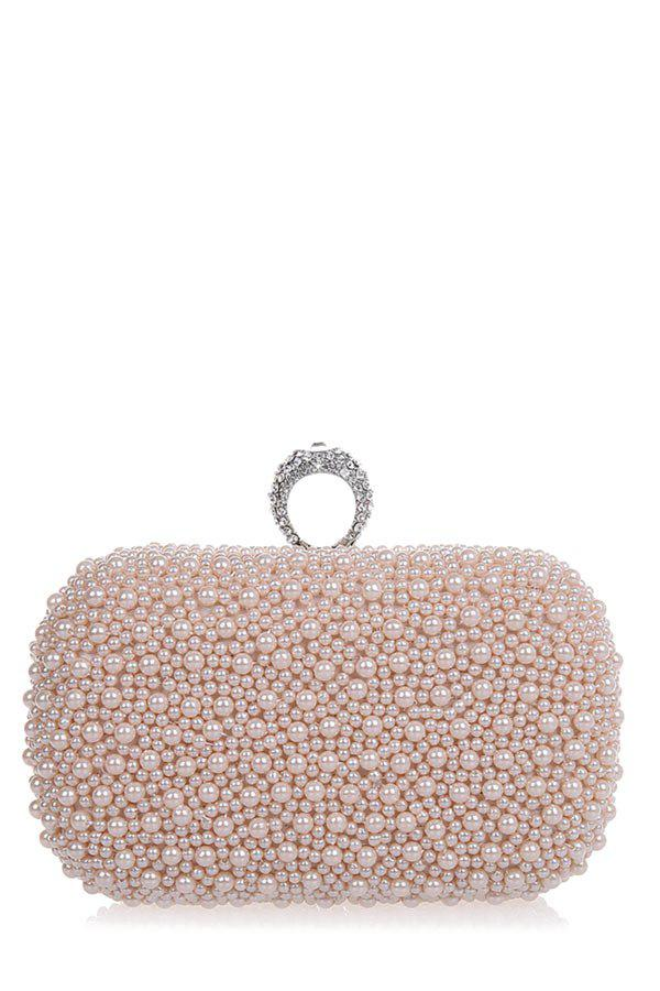 Chic Metal Trimmed  Beading Evening Clutch