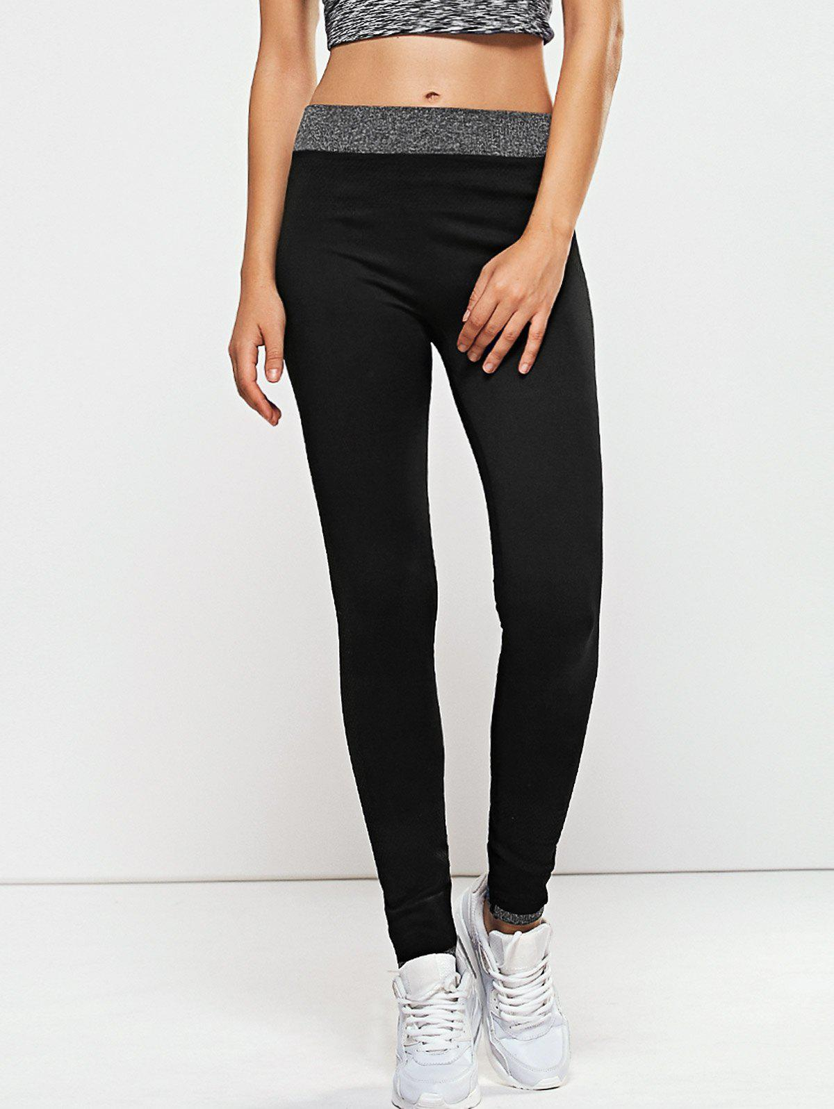 Quick -Dry Yoga Leggings PantsWOMEN<br><br>Size: L; Color: BLACK; Style: Active; Length: Ninth; Material: Cotton Blends,Polyester; Fit Type: Skinny; Waist Type: High; Closure Type: Elastic Waist; Pattern Type: Patchwork; Pant Style: Pencil Pants; Elasticity: Elastic; Weight: 0.187kg; Package Contents: 1 x Leggings;