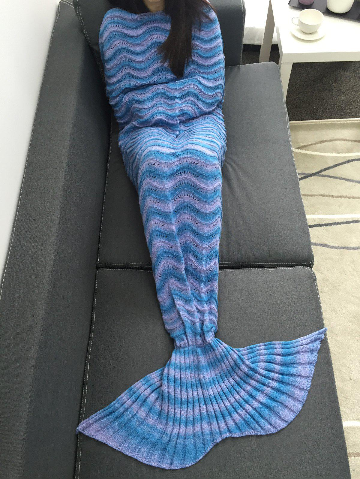 Sale Super Soft Knitting Wave Stripe Sofa Mermaid Tail Blanket