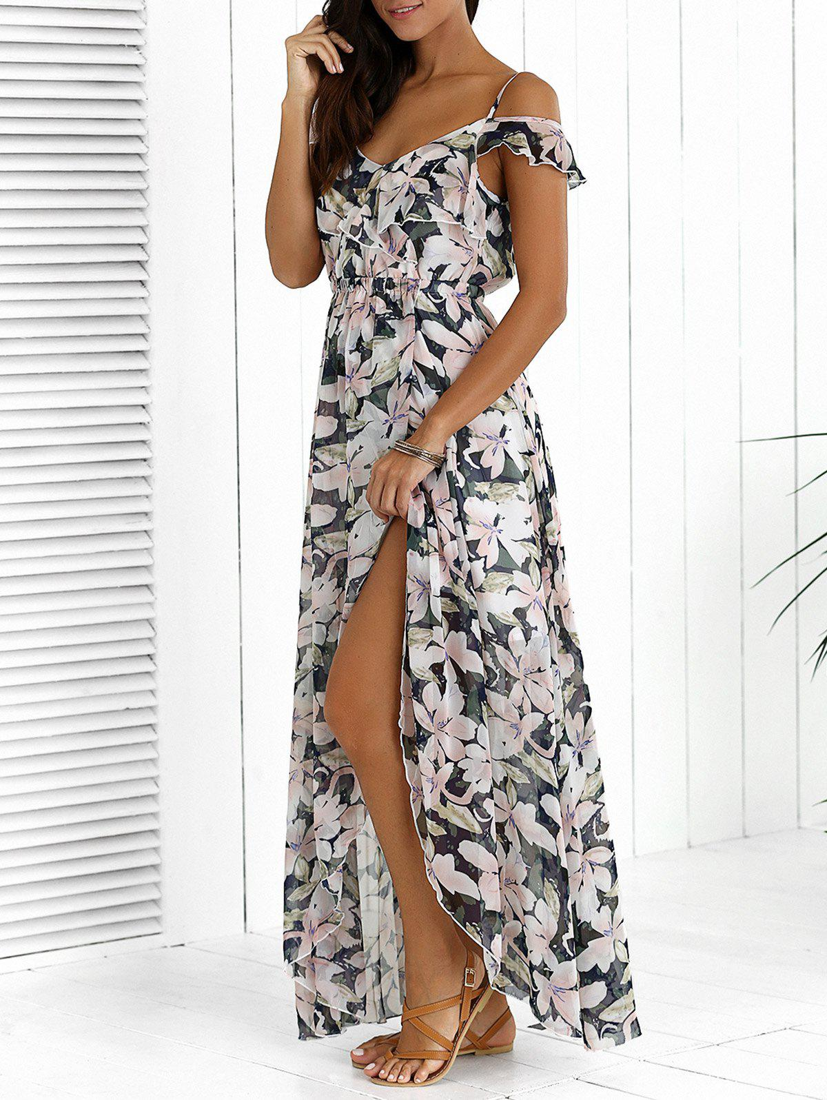 Discount Floral Maxi Chiffon Beach Dress with Slit