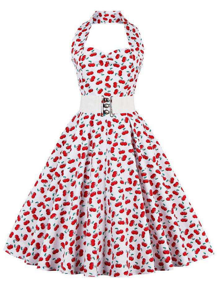 Outfit Cherry Print Halter Vintage Swing A Line Dress