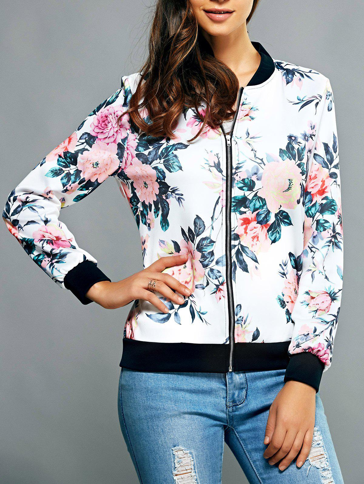 Fancy Zippered Floral Print Splicing Jacket