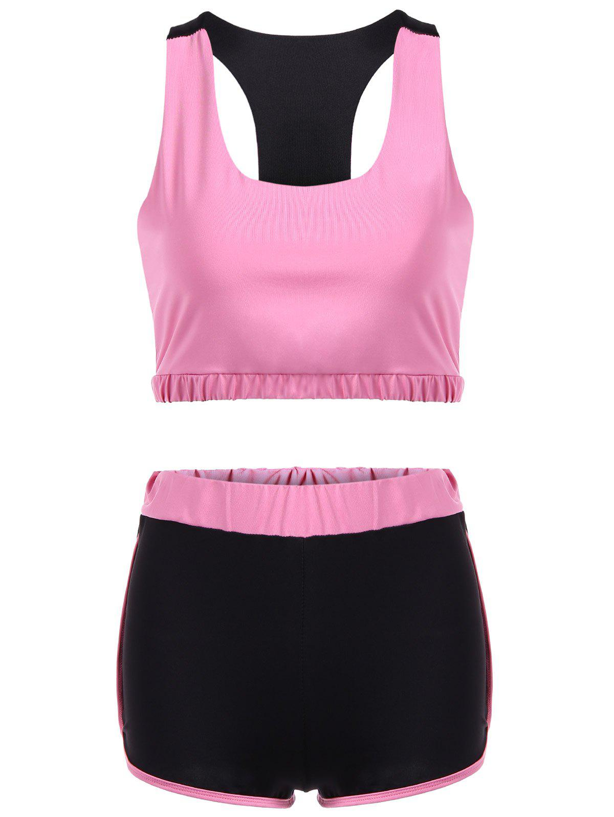 Latest Racerback U Neck Sporty Bra and Shorts Twinset