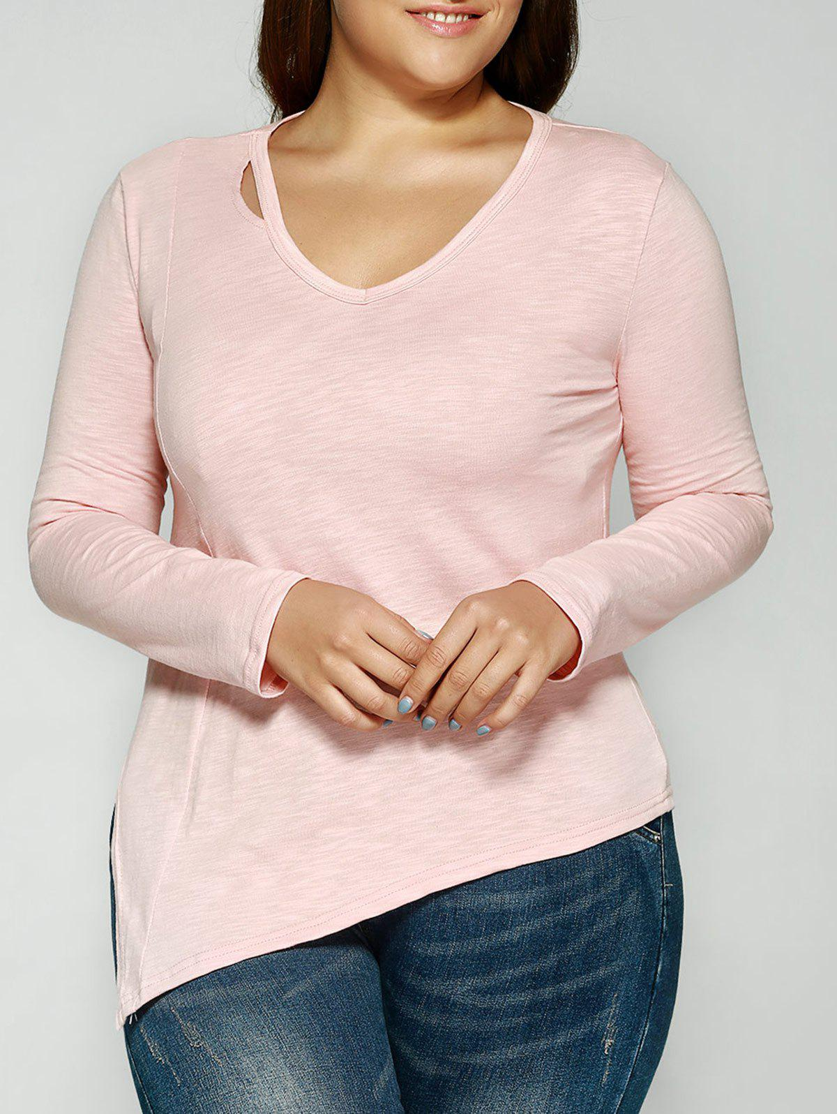 Fancy Cut Out V Neck Slant Asymmetric Slimming T-Shirt