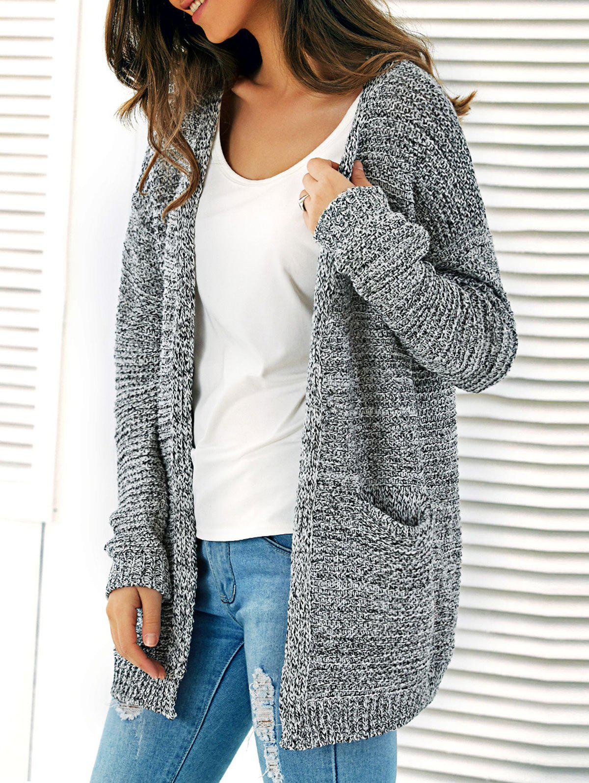 New Knitted Open Front Cardigan With Pockets