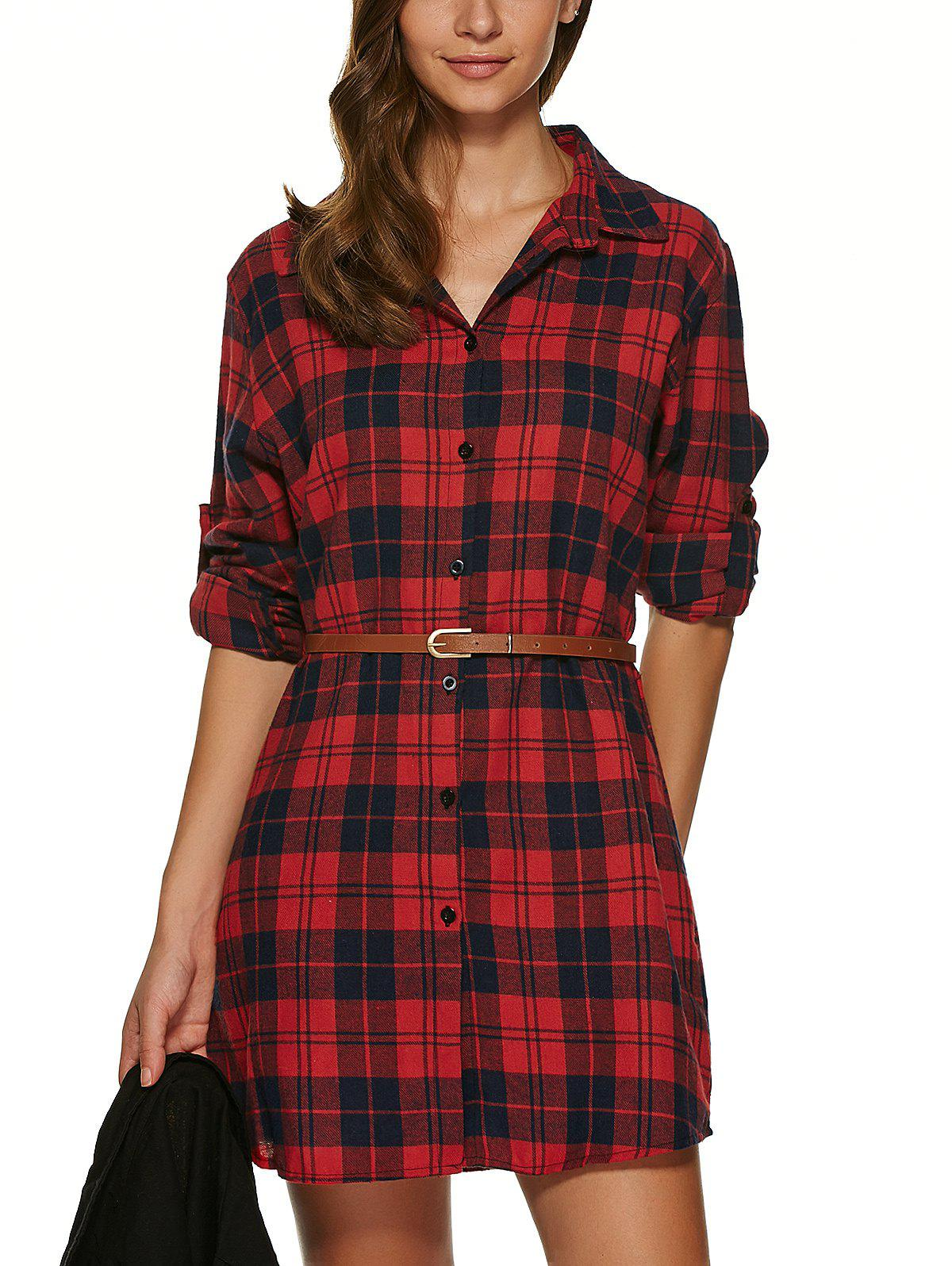 Outfits Long Sleeve Plaid Tunic Flannel Shirt Dress