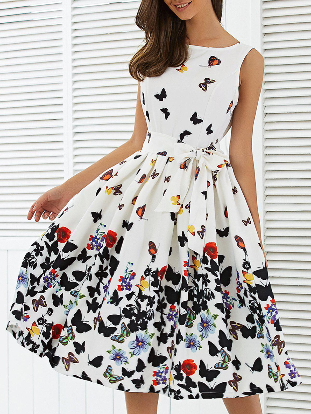 Sleeveless Floral Print Self Tie A Line DressWOMEN<br><br>Size: 2XL; Color: WHITE; Style: Brief; Material: Polyester; Silhouette: A-Line; Dresses Length: Knee-Length; Neckline: Round Collar; Sleeve Length: Sleeveless; Pattern Type: Floral; With Belt: Yes; Season: Fall,Spring; Weight: 0.343kg; Package Contents: 1 x Dress  1 x Belt;
