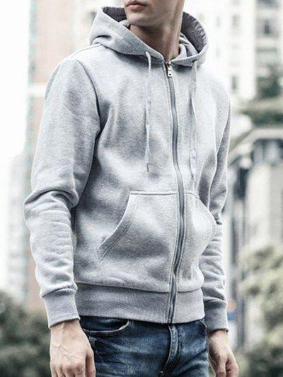 Drawstring Capuche Manches Longues Basic Zip-Up Hoodie Gris 2XL