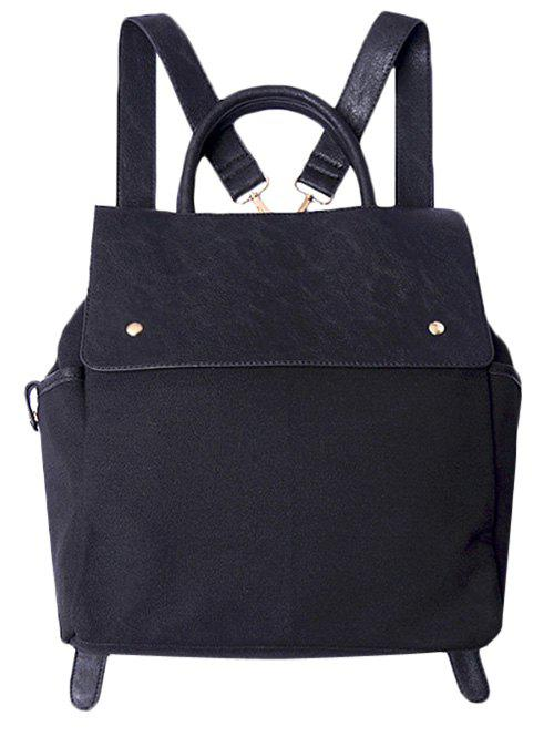 Fancy Canvas Splicing Magnetic Closure Backpack